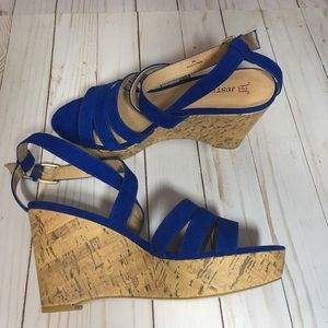 Justfab blue suede wedge sandals